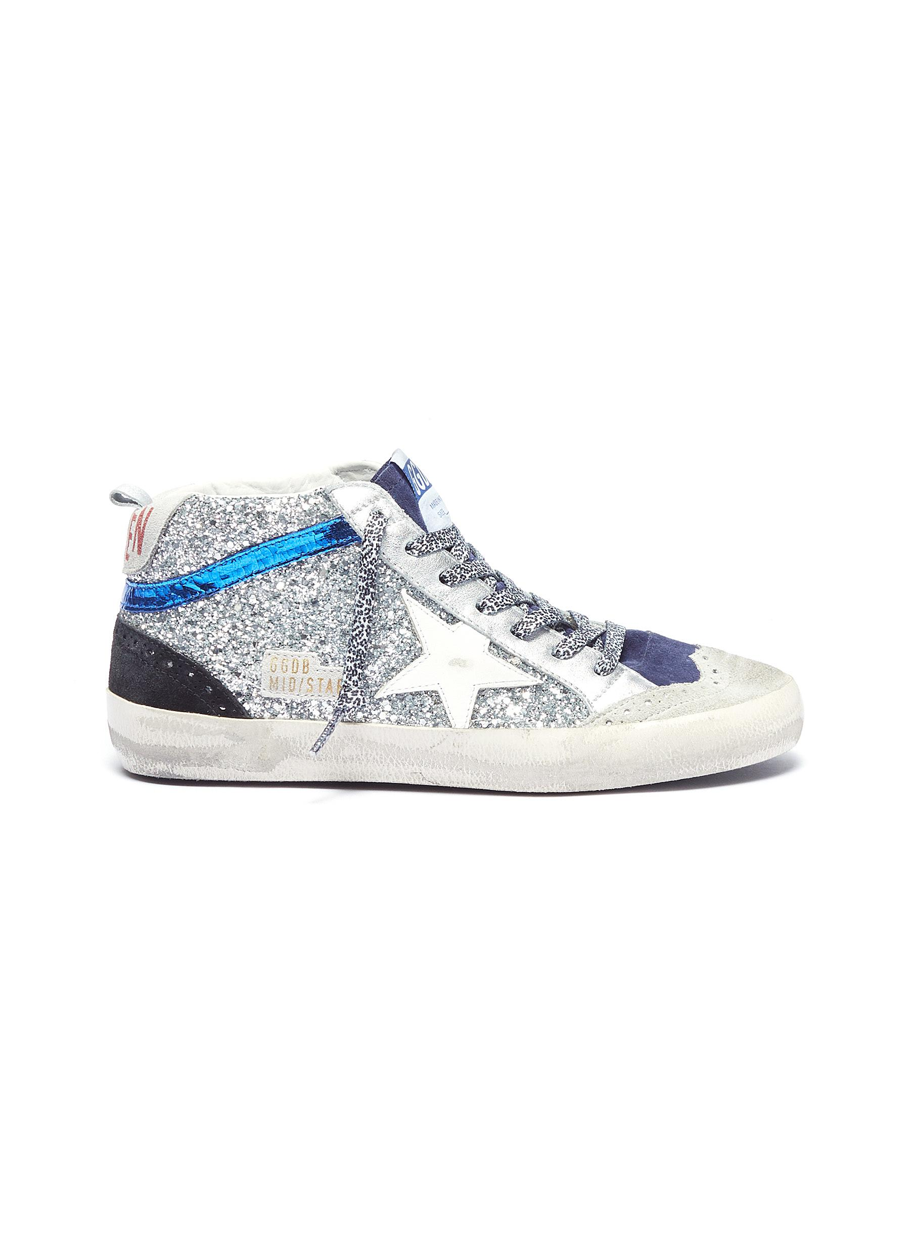 bca80971783b Golden Goose.  Mid Star  suede panel glitter coated leather sneakers