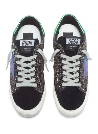 Detail View - Click To Enlarge - Golden Goose - 'May' glitter coated leather sneaker