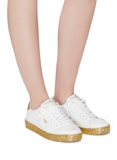 Golden Goose 'Tennis' coarse glitter midsole leather sneakers