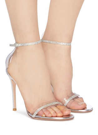 Figure View - Click To Enlarge - GIANVITO ROSSI - Strass ankle strap PVC sandals