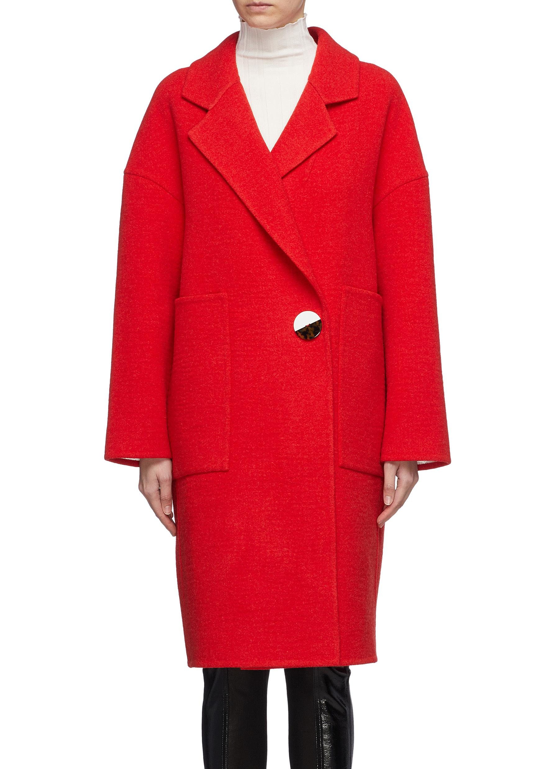 Button wool-cashmere melton coat by Comme Moi