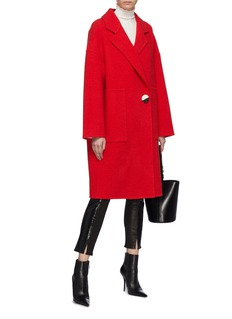 COMME MOI Button wool-cashmere melton coat