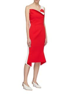 COMME MOI Detachable strap colourblock flared dress
