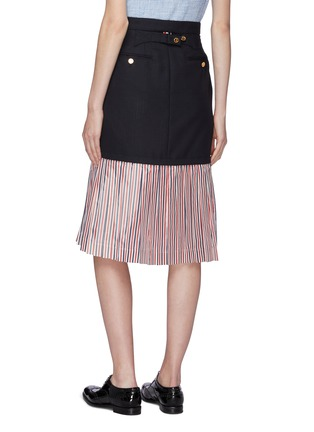 Back View - Click To Enlarge - THOM BROWNE - Extended pleated stripe hem wool skirt