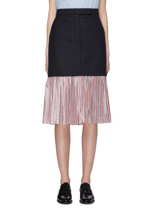 Main View - Click To Enlarge - THOM BROWNE - Extended pleated stripe hem wool skirt