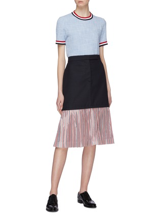 Figure View - Click To Enlarge - THOM BROWNE - Extended pleated stripe hem wool skirt