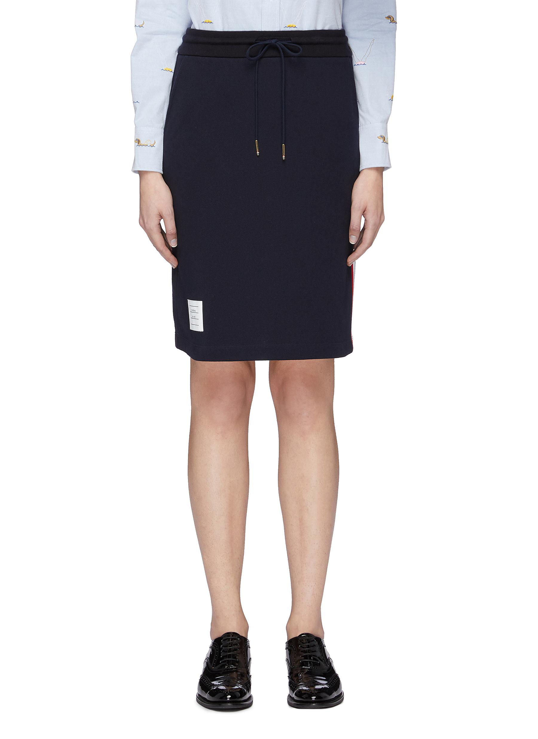 3775585b09a722 Main View - Click To Enlarge - Thom Browne - Stripe outseam drawstring  piqué skirt