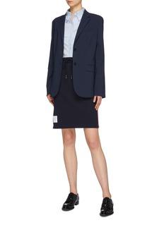 Thom Browne Stripe outseam drawstring piqué skirt