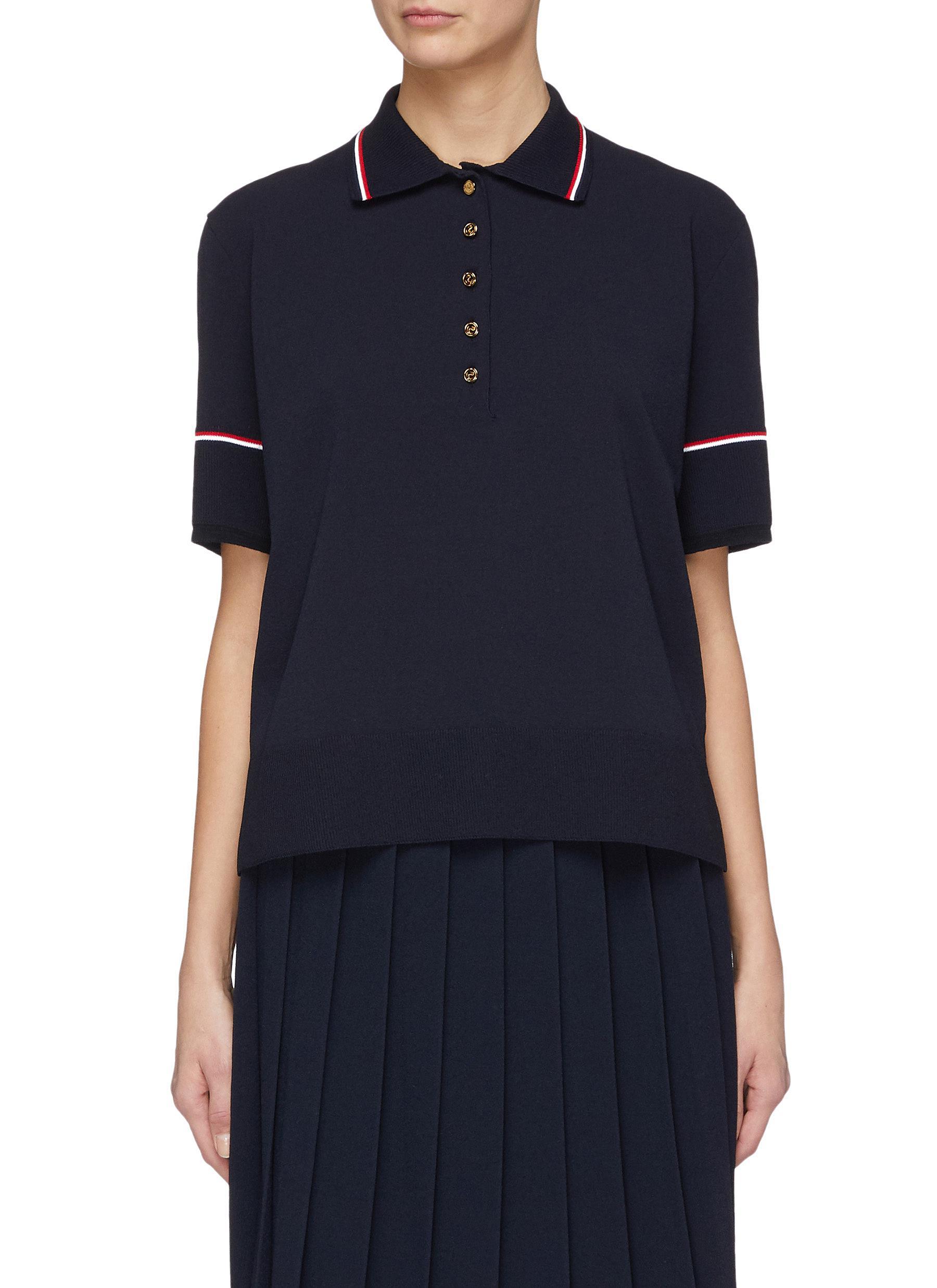 1da737ba Main View - Click To Enlarge - Thom Browne - Stripe collar polo shirt
