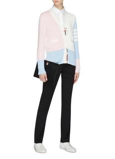 Thom Browne Stripe sleeve colourblock silk blend cardigan