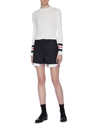 Figure View - Click To Enlarge - Thom Browne - Stripe underlay wool shorts