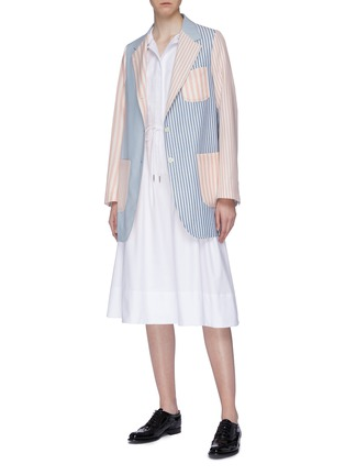Figure View - Click To Enlarge - THOM BROWNE - Patchwork stripe sack wool jacket