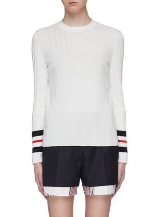 Main View - Click To Enlarge - THOM BROWNE - Stripe cuff pleated tromp l'œil sweater