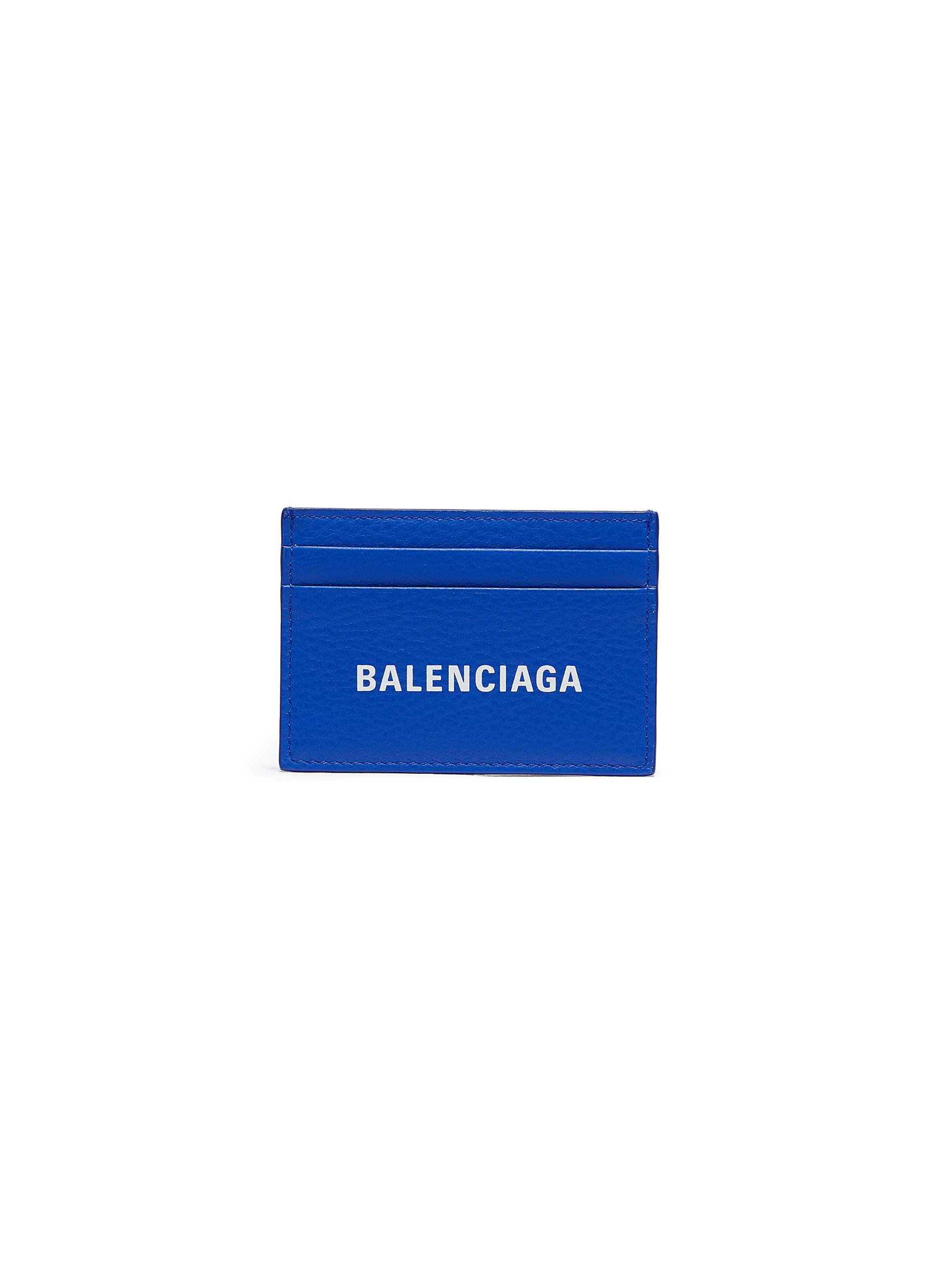 Balenciaga 'Everyday' Logo Print Leather Card Holder In Blue
