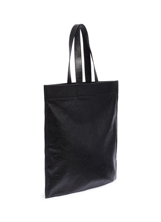 Detail View - Click To Enlarge - BALENCIAGA - 'Supermarket Shopping' slogan print large leather tote