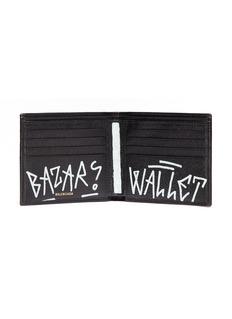 Balenciaga 'Bazar' graffiti print leather bifold wallet