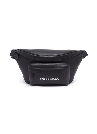 Main View - Click To Enlarge - BALENCIAGA - 'Everyday' logo print leather bum bag