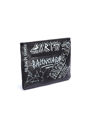 Detail View - Click To Enlarge - Balenciaga - 'Explorer' graffiti print leather pouch