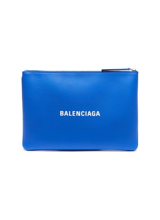 Main View - Click To Enlarge - BALENCIAGA - 'Everyday' logo print medium leather pouch