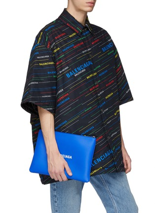 Figure View - Click To Enlarge - BALENCIAGA - 'Everyday' logo print medium leather pouch