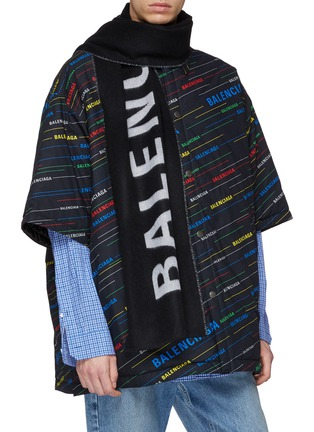 Figure View - Click To Enlarge - BALENCIAGA - 'Everyday' logo jacquard wool scarf