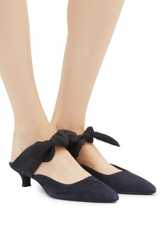 The Row 'Coco' crepe bow tie suede mules