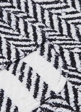 - Oscar de la Renta - Belted fringe cuff herringbone tweed jacket