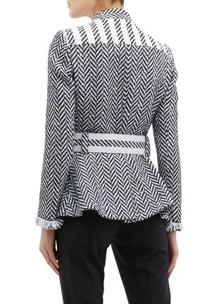Back View - Click To Enlarge - Oscar de la Renta - Belted fringe cuff herringbone tweed jacket