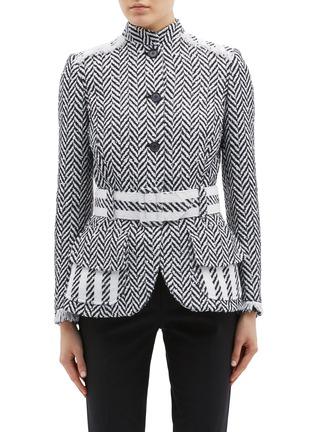 Main View - Click To Enlarge - Oscar de la Renta - Belted fringe cuff herringbone tweed jacket