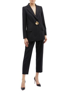 Oscar de la Renta Metallic maple leaf brooch blazer