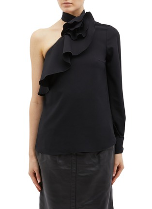 Main View - Click To Enlarge - Oscar de la Renta - Ruffle trim one-shoulder silk georgette blouse