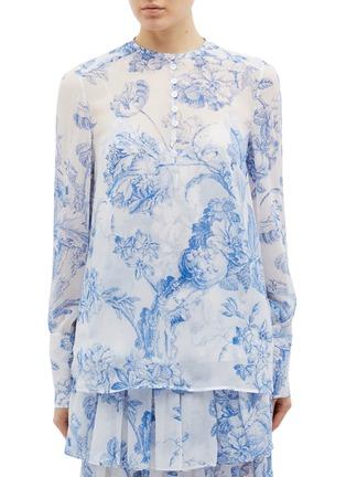 Main View - Click To Enlarge - Oscar de la Renta - Floral toile print silk chiffon shirt