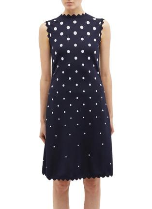 Main View - Click To Enlarge - OSCAR DE LA RENTA - Scalloped polka dot jacquard knit dress