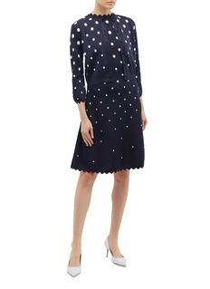 Oscar de la Renta Scalloped polka dot jacquard knit dress