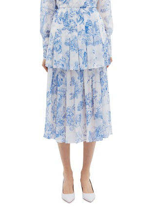 Main View - Click To Enlarge - Oscar de la Renta - Floral toile print pleated tiered silk chiffon skirt