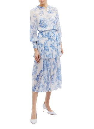 Figure View - Click To Enlarge - Oscar de la Renta - Floral toile print pleated tiered silk chiffon skirt