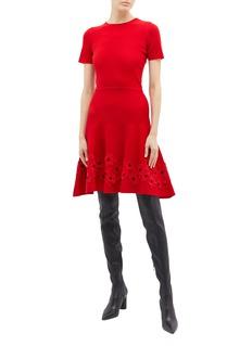 Oscar de la Renta Floral appliqué knit dress