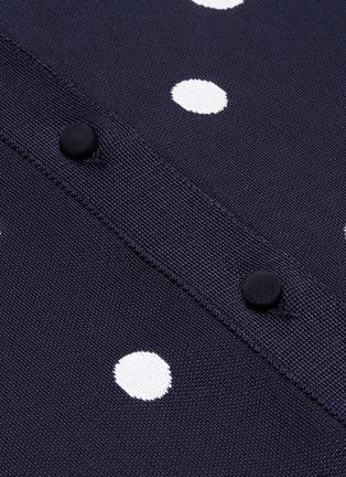 - Oscar de la Renta - Scalloped cuff polka dot jacquard cardigan
