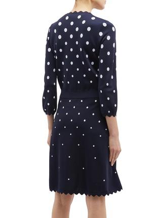 Back View - Click To Enlarge - Oscar de la Renta - Scalloped cuff polka dot jacquard cardigan