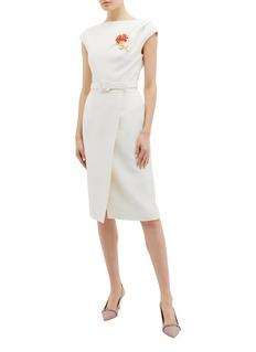 Oscar de la Renta Belted mock wrap wool-silk dress