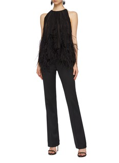Oscar de la Renta Ostrich feather pleated chiffon blouse