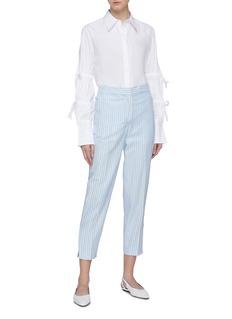 VICTORIA, VICTORIA BECKHAM Split cuff stripe chambray cropped pants