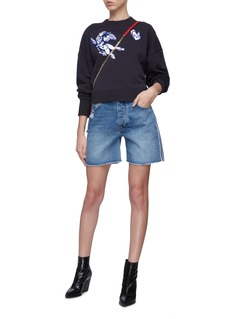 VICTORIA, VICTORIA BECKHAM 'Arizona' stripe outseam denim shorts