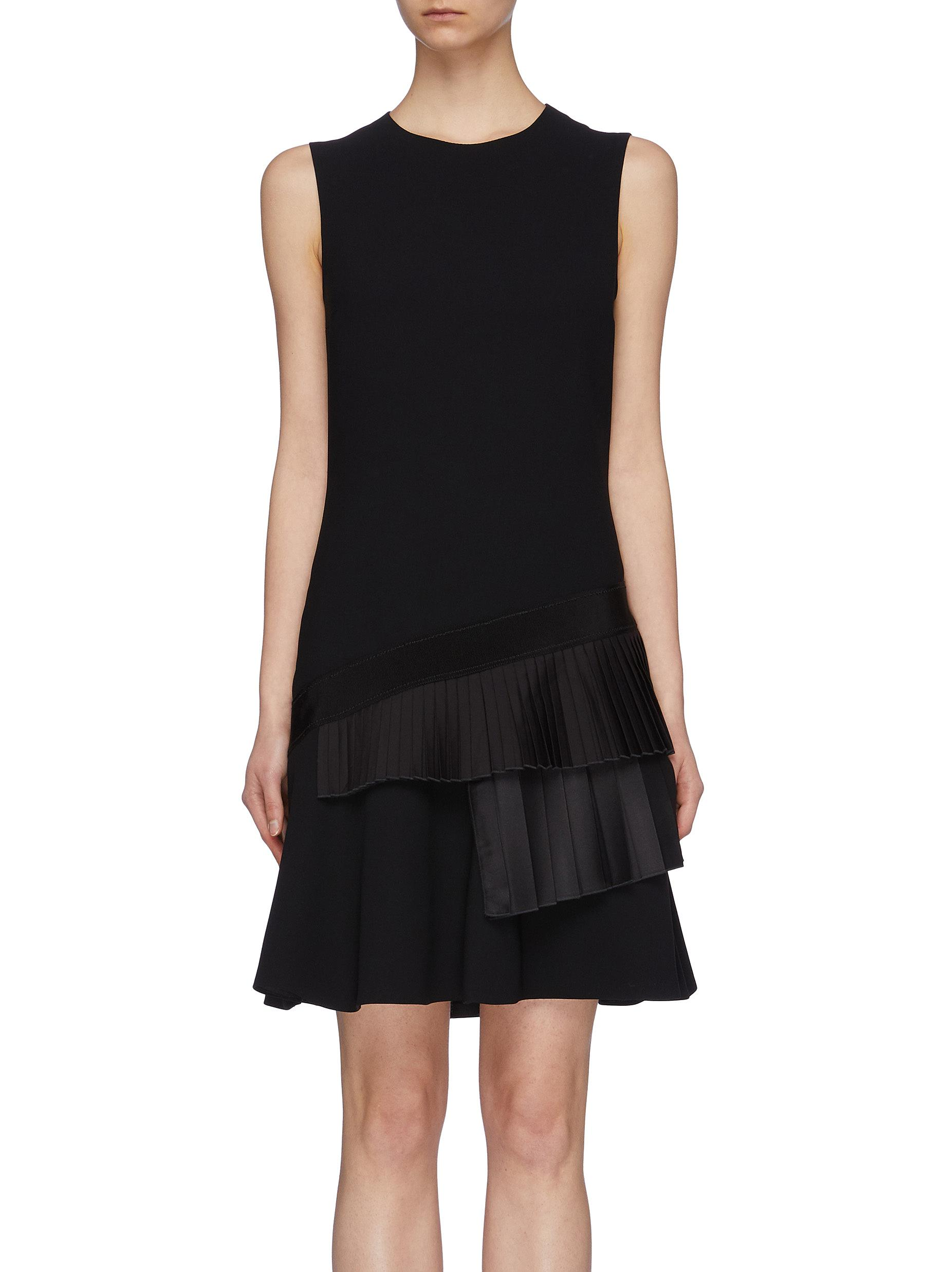 Asymmetric pleated tiered sleeveless crepe shift dress by Victoria, Victoria Beckham