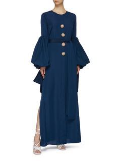Leal Daccarett 'Gorgona' belted sequin button puff sleeve shirt dress