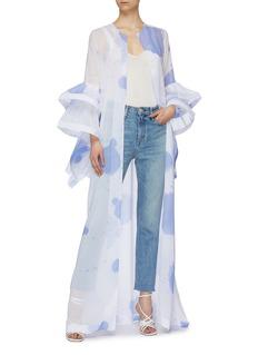 Leal Daccarett 'Maravilla' tiered sleeve splash print open kaftan
