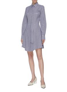 Gabriela Hearst 'Garcia' darted geometric stripe shirt dress