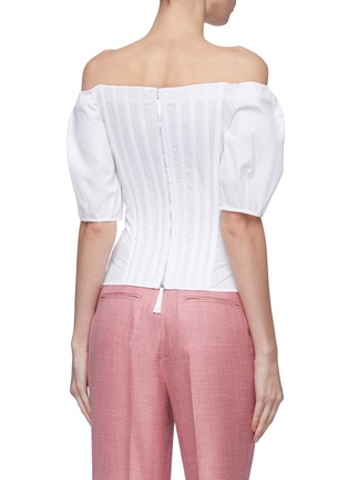 Back View - Click To Enlarge - GABRIELA HEARST - 'Hurley' puff sleeve darted off-shoulder top