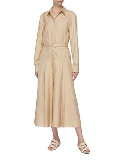 Gabriela Hearst 'Mariano' belted pleated silk twill shirt dress