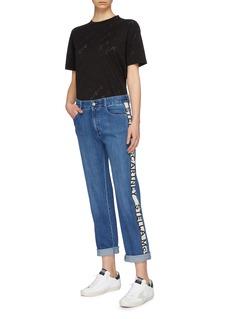 Stella McCartney Logo stripe outseam organic cotton boyfriend jeans